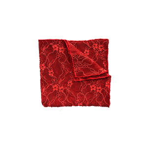 Fantasia Pocket Square in Passion Red folded.