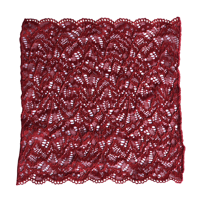 Passion Red lace pocket square on white background
