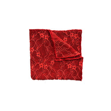 Load image into Gallery viewer, Fantasia Lace Pocket Square in Passion Red.