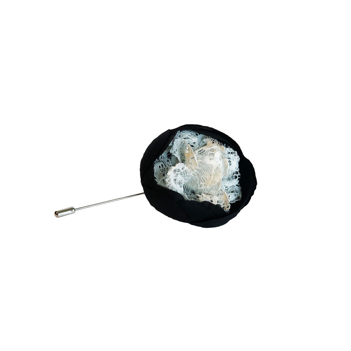 Black and White Dahlia Flower Lapel Pin
