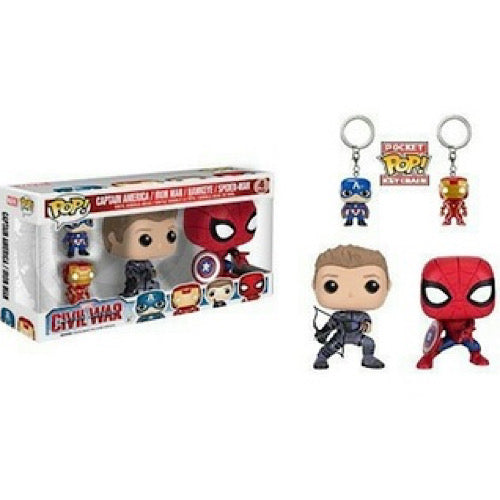 Captain America, Iron Man, Hawkeye, Spider-Man, 4 Pack, (Condition 6/10)