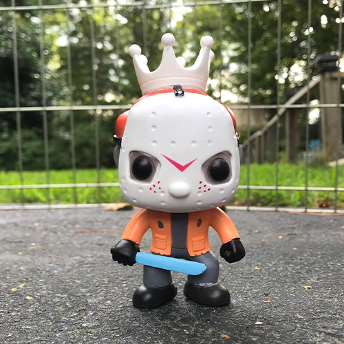 LE Orange/Blue Glow Custom Freddy Funko as Jason Voorhees /w  Jason V Enamel Pin - Smeye World