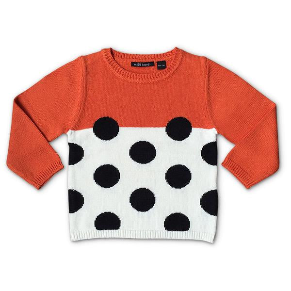 Mini Kardi :Orange Black Dot Sweater