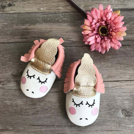 Little Caleb: Baby Unicorn Leather Moccasins (Blush)
