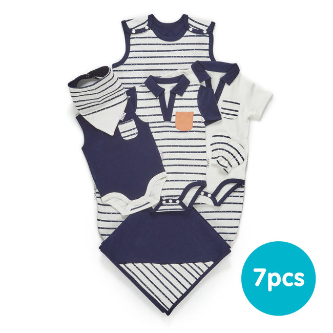 Summer Growing Kit for 3-Month Old Baby Boys - Essential 7-Piece Set (Line Dance)