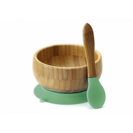 Avanchy: Baby Bamboo Stay Put Suction Bowl + Spoon (Green)