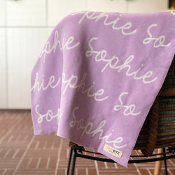 Personalized Blanket for Adults (Light Purple Background)