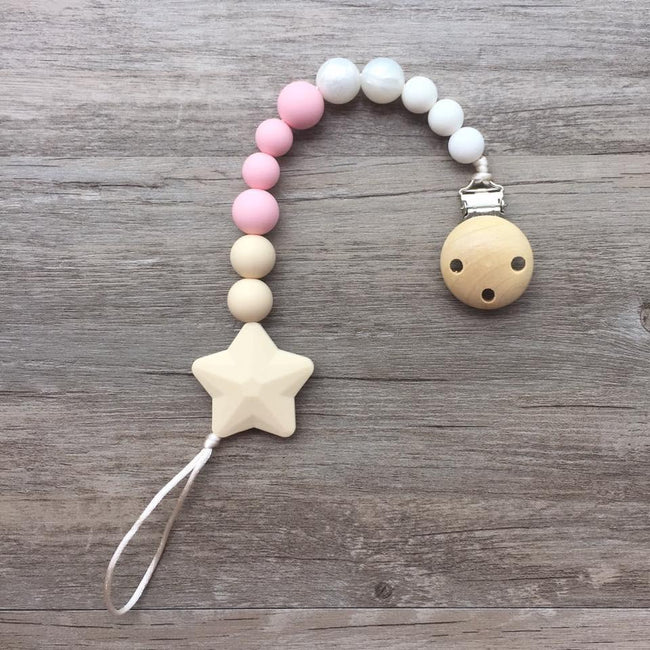 Little Caleb: Star Pacifier Clip (Cream)