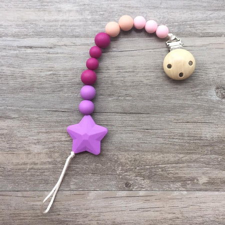 Little Caleb: Star Pacifier Clip (Purple)