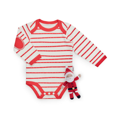 Christmas Set: Candy Cane Bodysuit + Rattle Toy