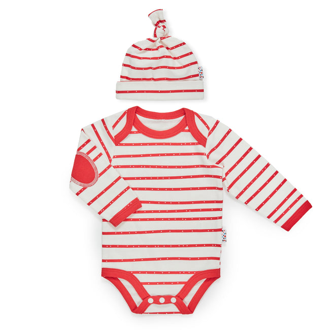 Christmas Set: Candy Cane Bodysuit + Beanie