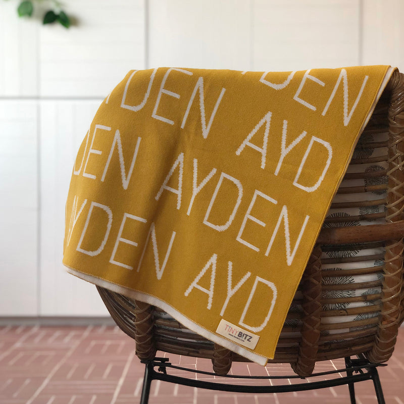 Personalized Blanket for Adults (Mustard Background)