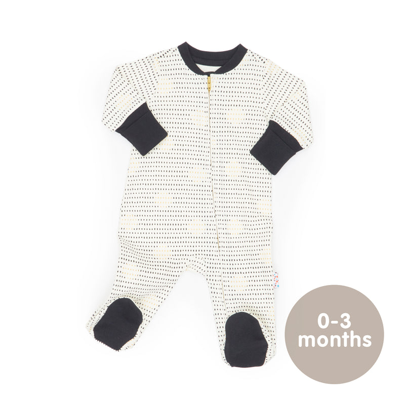 Long-Sleeved Zipped Onesie (Spot the Dots - Cream)