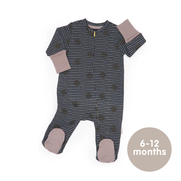 Long-Sleeved Zipped Onesie (Spot the Dots - Black)