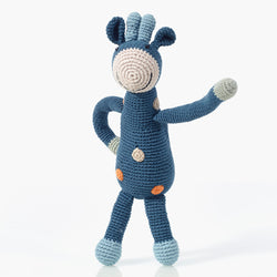 Pebble: Organic Giraffe Rattle (Blue)