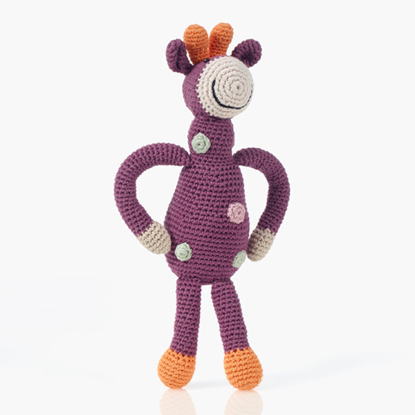 Pebble: Organic Giraffe Rattle (Soft Purple)