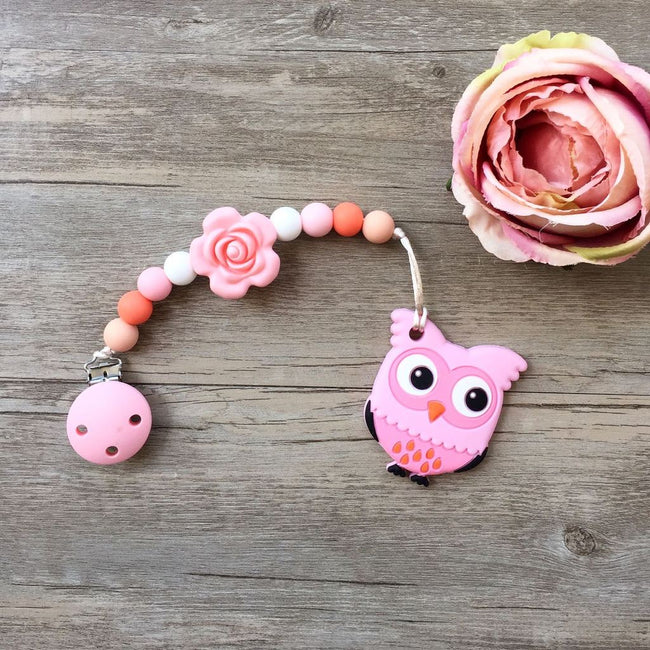 Little Caleb: Owl Teether (Pink)
