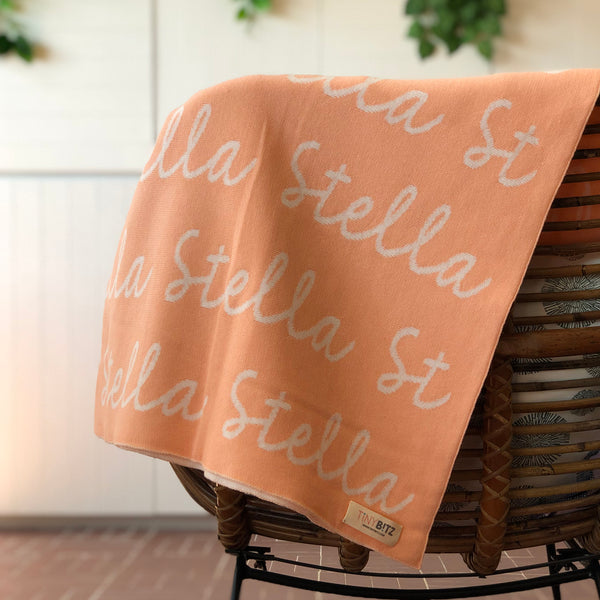 Personalized Blanket for Adults (Peach Background)