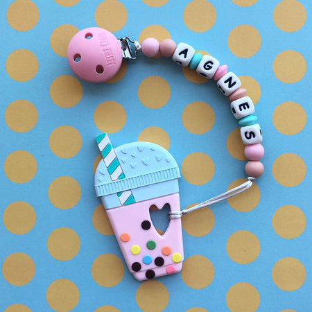 Personalized Teether: Bubble Tea (Strawberry)
