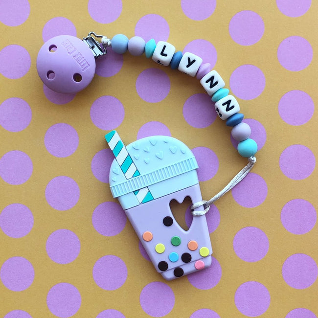 Personalized Teether: Bubble Tea (Taro)