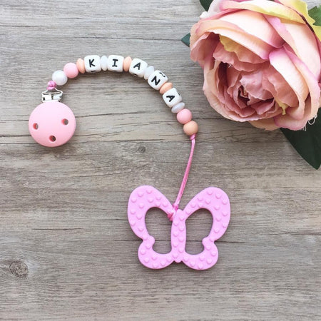 Personalized Teether: Butterfly (Pink)
