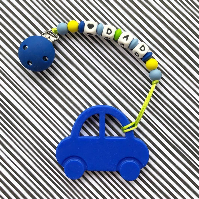 Personalized Teether: Car (Blue)