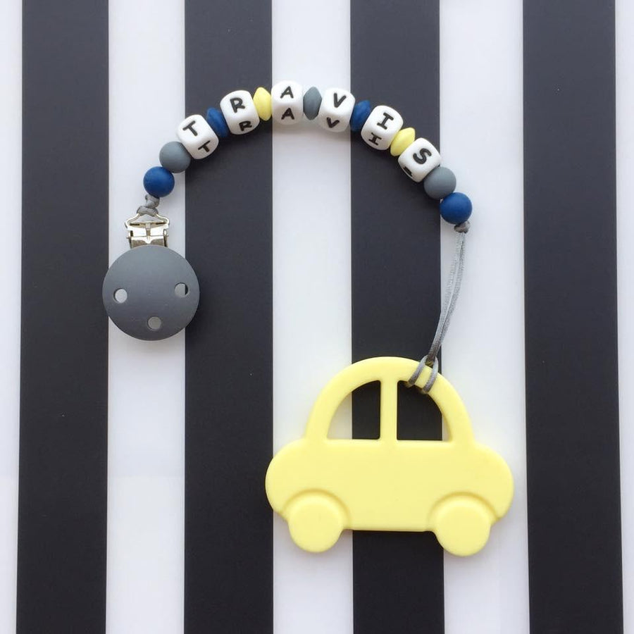 Personalized Teether: Car (Yellow)