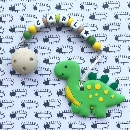 Personalized Teether: Cute Dinosaur (Green)