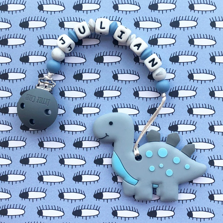 Personalized Teether: Cute Dinosaur (Grey)