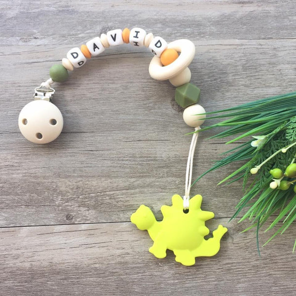 Personalized Teether: Dinosaur (Green)