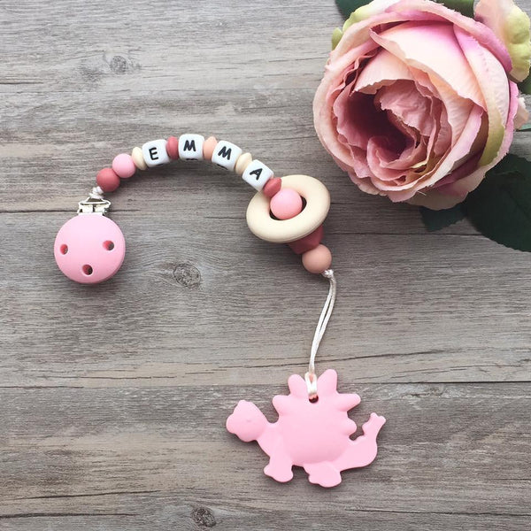 Personalized Teether: Dinosaur (Pink)