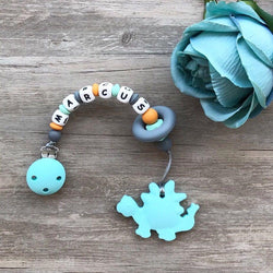 Personalized Teether: Dinosaur (Sky Blue)