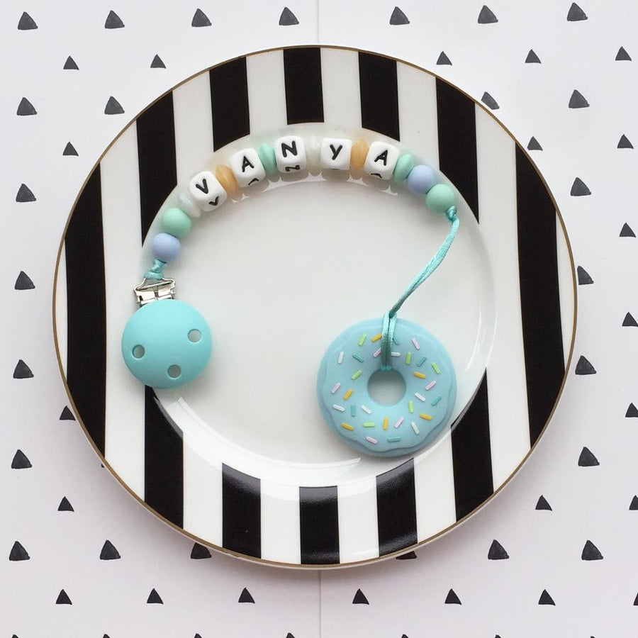 Personalized Teether: Donut (Blue)