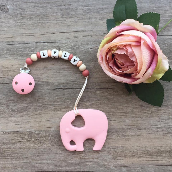 Personalized Teether: Elephant (Pink)