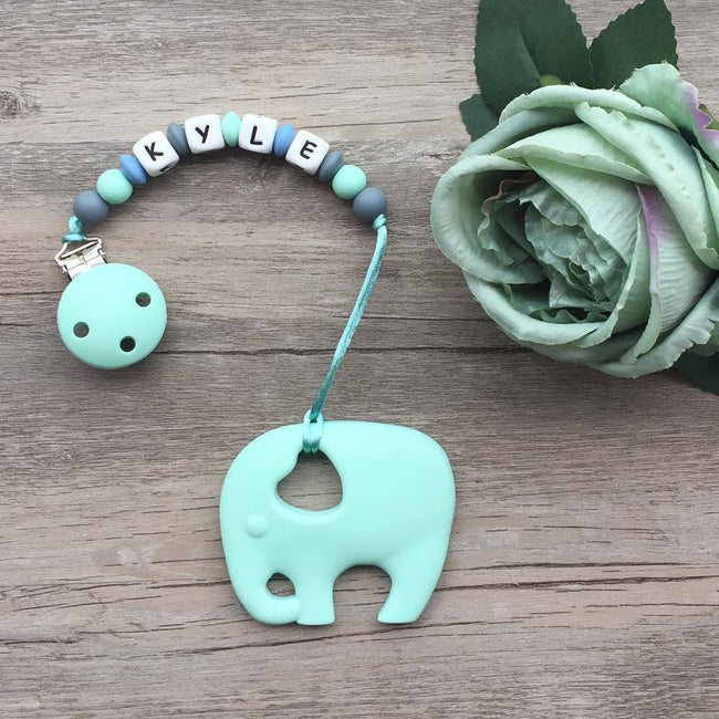 Personalized Teether: Elephant (Mint)