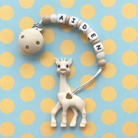 Personalized Teether: Giraffe (Cream)