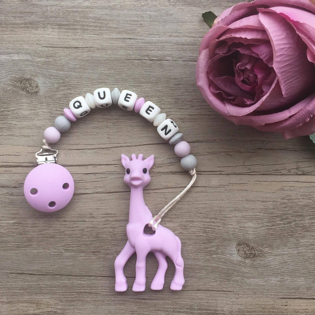 Personalized Teether: Giraffe (Purple)