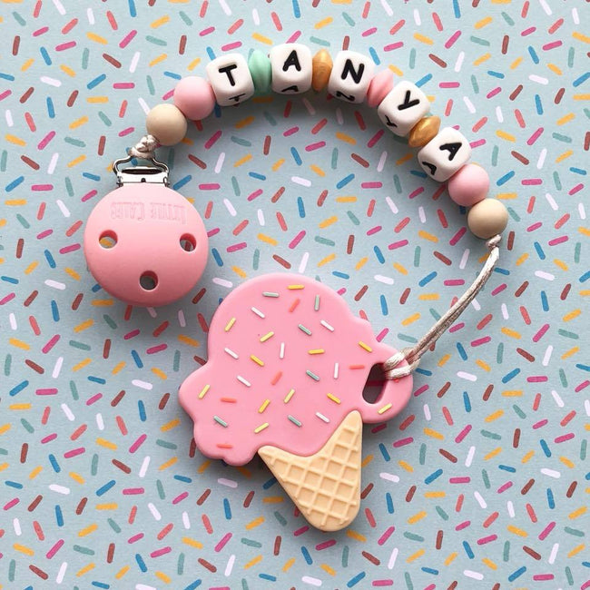 Personalized Teether: Ice-cream (Pink)