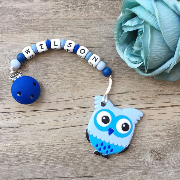 Personalized Teether: Owl (Blue)