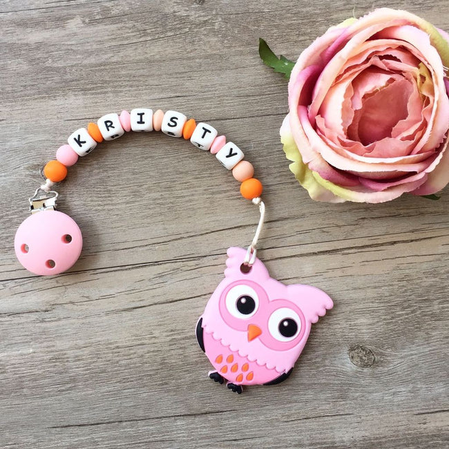 Personalized Teether: Owl (Pink)