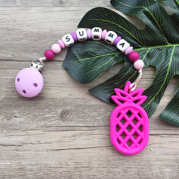 Personalized Teether: Pineapple (Fuschia)