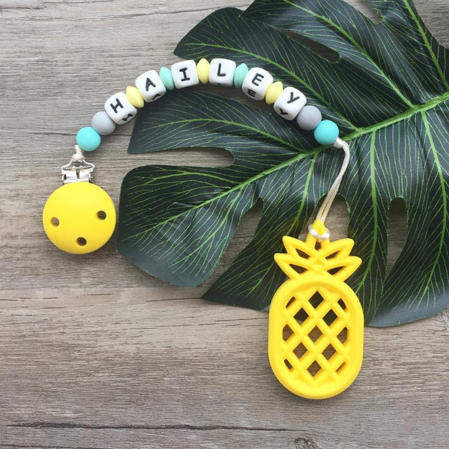 Personalized Teether: Pineapple (Yellow)