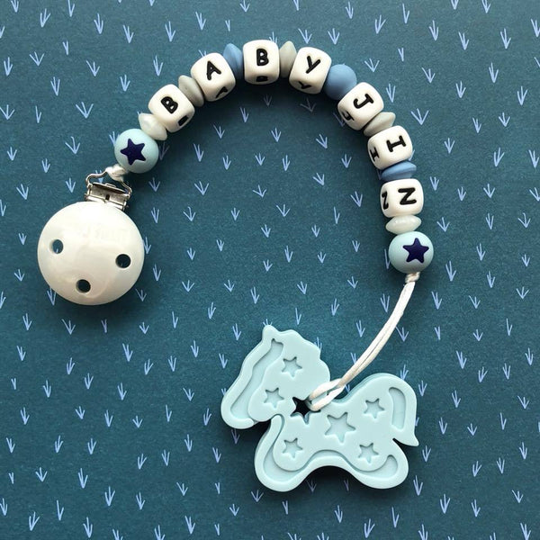 Personalized Teether: Pony (Blue)