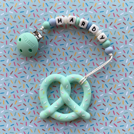 Personalized Teether: Pretzel (Mint)