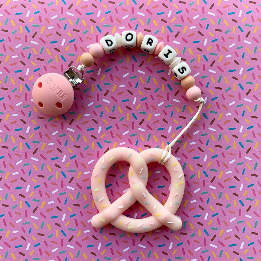 Personalized Teether: Pretzel (Pink)