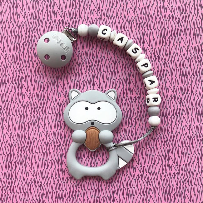 Personalized Teether: Raccoon (Grey)