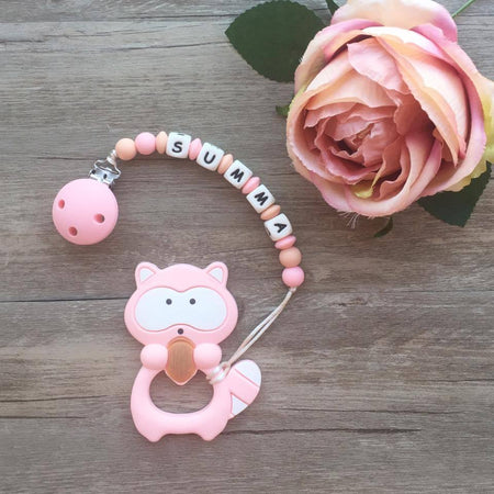 Personalized Teether: Raccoon (Pink)