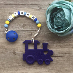 Personalized Teether: Train (Blue)