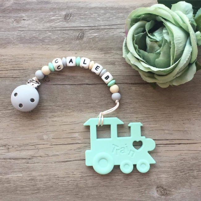 Personalized Teether: Train (Mint)