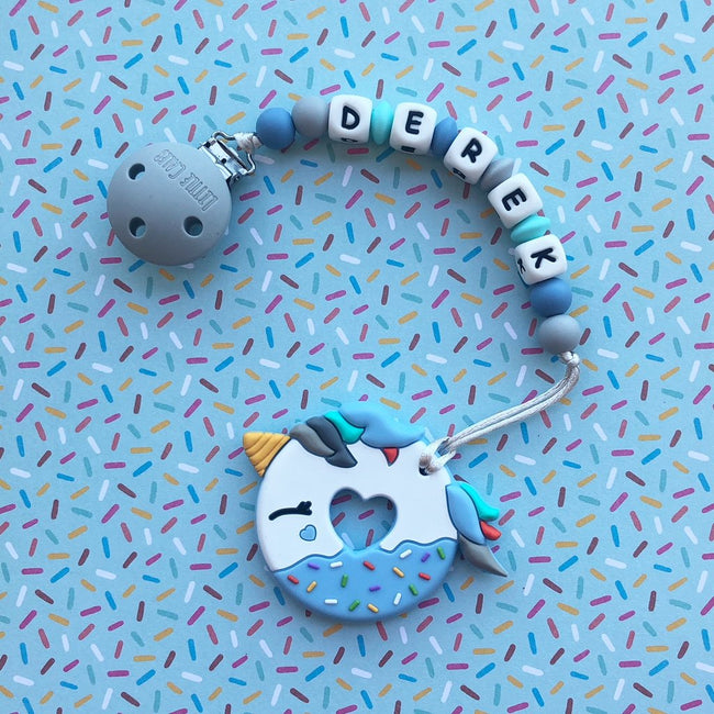 Personalized Teether: Unicorn Donut (Blue)